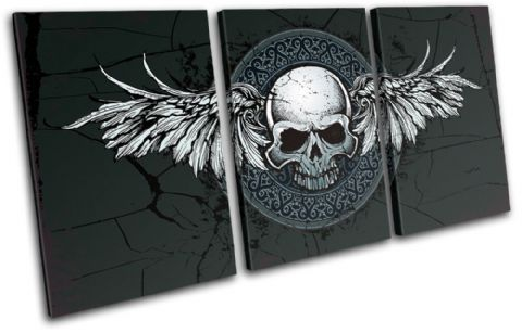 Gothic Skull Wings Illustration - 13-0072(00B)-TR21-LO